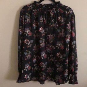 Ann Taylor Smocked Tie Neck Floral Blouse Size L